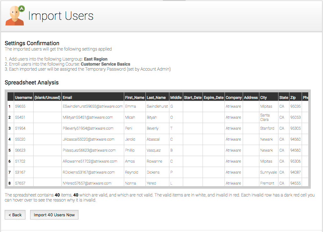 Axis LMS Training Management Import