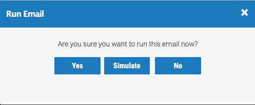 Emails Simulate Run