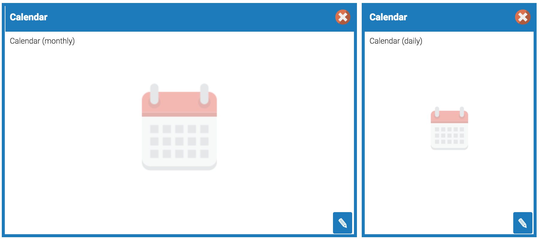 Learning Portal widgets - Admin view