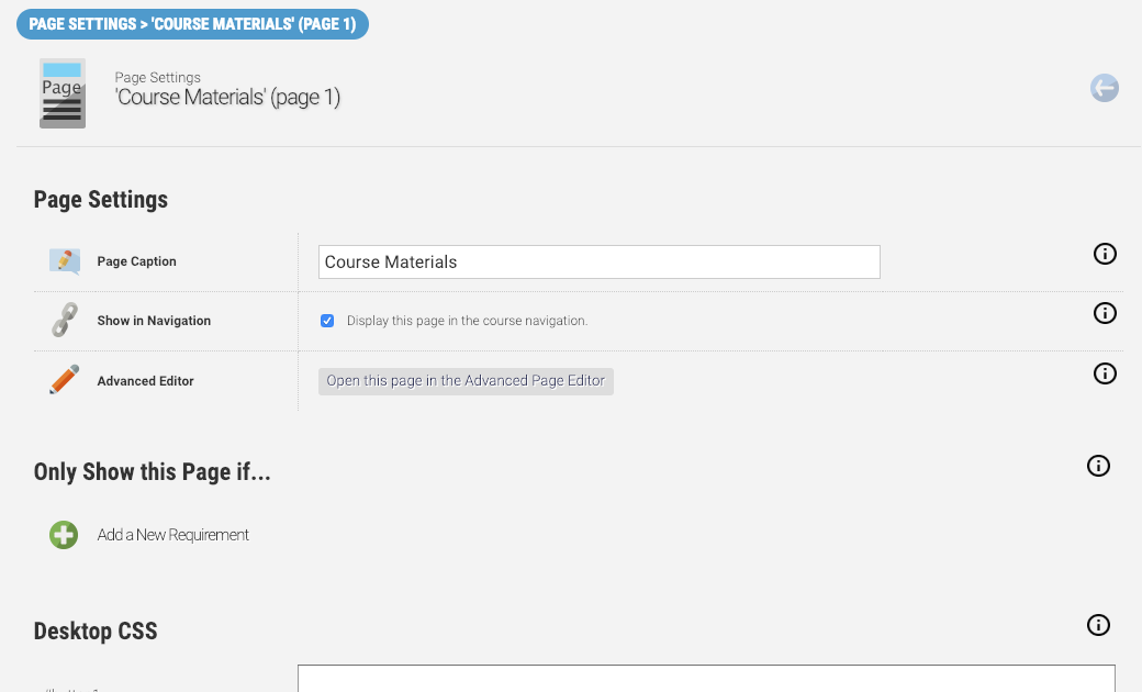 Course Page Settings